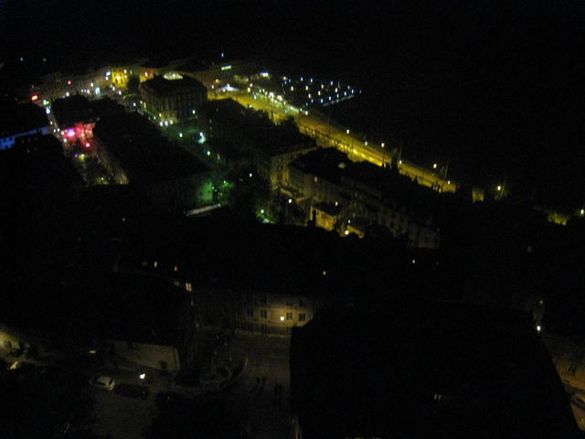 Aerial photography of Neuchâtel (Switzerland) by night