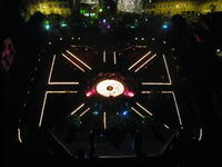 "Aerial picture of the garden of the ""Du Peyrou Hotel"" in Neuchâtel (Switzerland) by night, during the artistic perform"